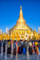 Crowds and Offerings at Shwedagon Pagoda