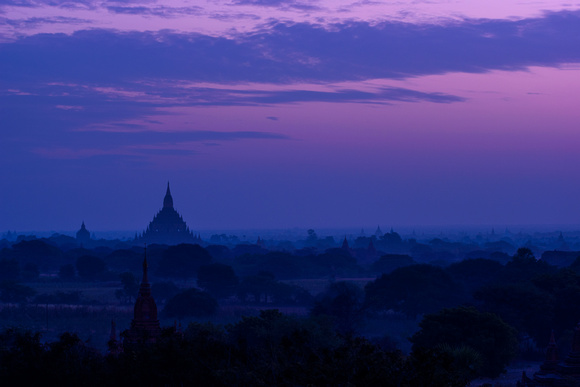 Bagan Pre-Dawn of Sulamani Temple from Shwesandaw Temple