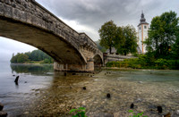 Old Bridge & Church at Bohinjsko Jezero