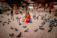 The Pigeon Lady at Old Durbar Square